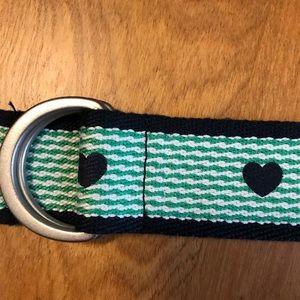 Other - Girls Fabric Green & Navy Heart Belt Size 6